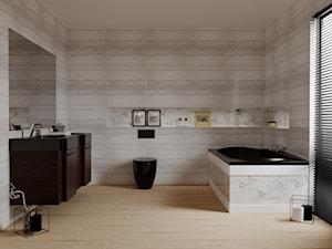 Ice 30x60 - Średnia szara łazienka na poddaszu w bloku w domu jednorodzinnym z oknem, styl minimalistyczny - zdjęcie od LIS Ceramika