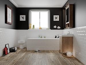 Metro 10x20 - Średnia czarna szara łazienka w bloku w domu jednorodzinnym z oknem, styl eklektyczny - zdjęcie od LIS Ceramika