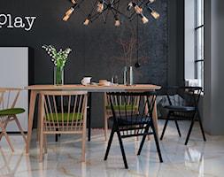 Taj marble 60x60 - Średnia otwarta czarna szara jadalnia w salonie, styl eklektyczny - zdjęcie od LIS Ceramika