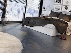 Concept 60x60 - Mała czarna sypialnia małżeńska, styl nowoczesny - zdjęcie od LIS Ceramika