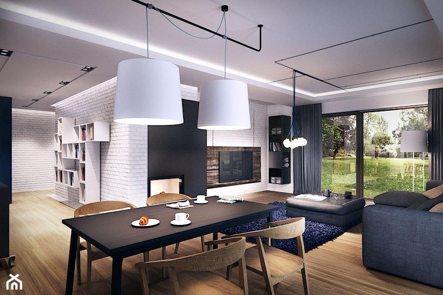 WAKE UP YOUR IMAGINATION - Duży biały salon z jadalnią z tarasem / balkonem - zdjęcie od Zarysy