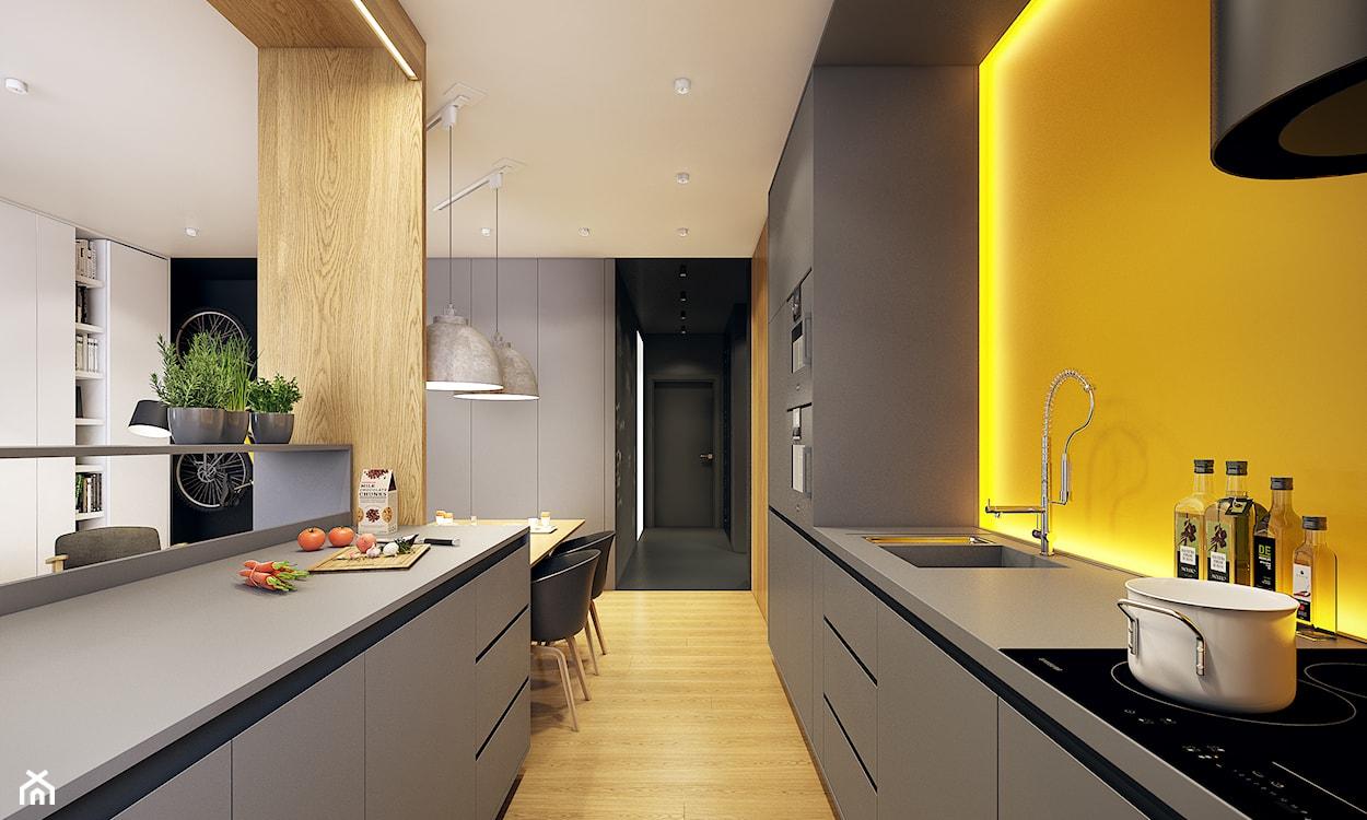 żółta kuchnia, minimalistyczna kuchnia