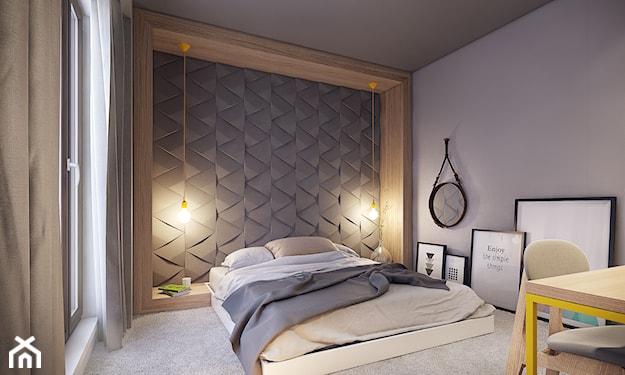 szara sypialnia z wielkim łóżkiem małżeńskim