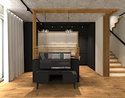 MARKI   170 - Średni beżowy czarny salon z kuchnią, styl industrialny - zdjęcie od KartA Pracownia Projektowa Katarzyna Cimochowska