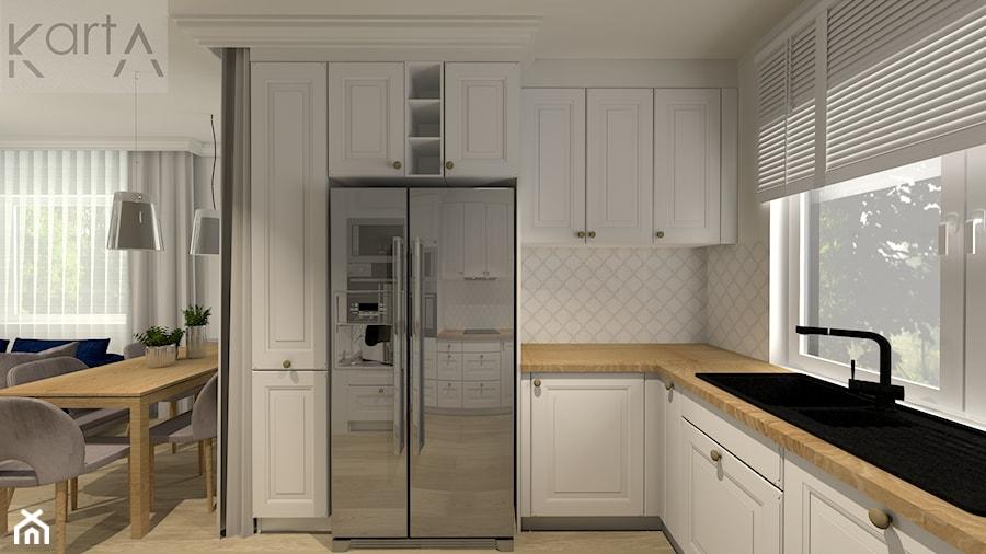 SKOWARCZ | 125M2 - Średnia otwarta szara kuchnia w kształcie litery l z oknem, styl nowojorski - zdjęcie od KartA Pracownia Projektowa Katarzyna Cimochowska