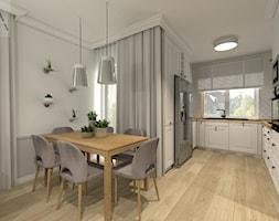 SKOWARCZ | 125M2 - Średnia otwarta biała szara jadalnia w kuchni w salonie, styl nowojorski - zdjęcie od KartA Pracownia Projektowa Katarzyna Cimochowska