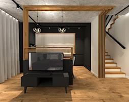 MARKI   170 - Beżowy czarny salon z kuchnią z tarasem / balkonem, styl industrialny - zdjęcie od KartA Pracownia Projektowa Katarzyna Cimochowska