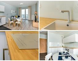 GDAŃSK | 40M2 - Średni szary salon z kuchnią z jadalnią, styl nowoczesny - zdjęcie od KartA Pracownia Projektowa Katarzyna Cimochowska