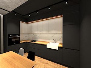 MARKI | 170 - Średnia otwarta szara kuchnia w kształcie litery l, styl industrialny - zdjęcie od KartA Pracownia Projektowa Katarzyna Cimochowska