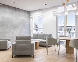 Salon szary beton i delikatne meble, wełniana tapicerka, living room with light grey loose furnitur ... - zdjęcie od SARNA ARCHITEKCI / Architektura Wnętrza dla wymagających / Interior Design - Homebook