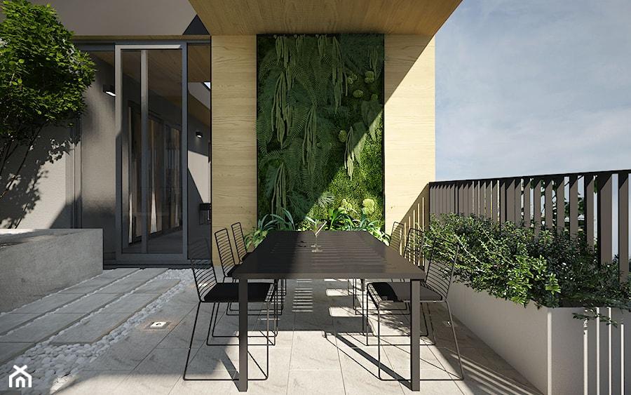 Projekt tarasu 200m2/Kraków - Duży taras z tyłu domu, styl nowoczesny - zdjęcie od ABM Studio