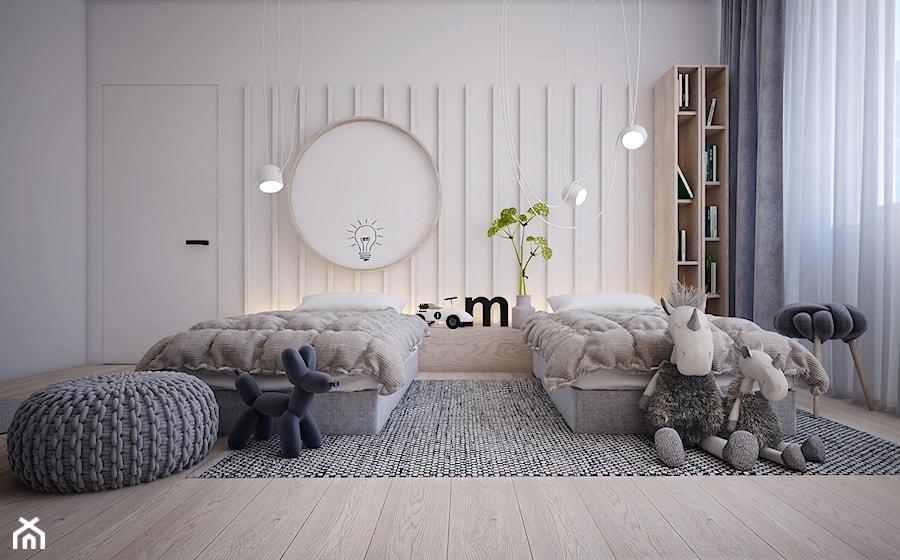 Pokój dziecięcy 18m2/Kraków - Średni biały pokój dziecka dla chłopca dla dziewczynki dla malucha dla nastolatka, styl nowoczesny - zdjęcie od ABM Studio