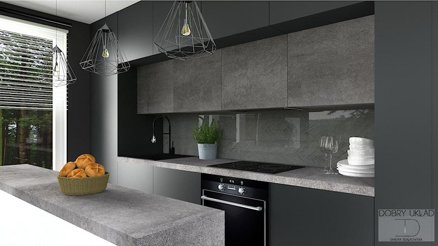 Salon Z Aneksem Kuchennym średnia Otwarta Czarna Kuchnia