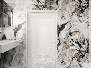 Nowoczesna Łazienka - Mała biała czarna szara łazienka w bloku w domu jednorodzinnym bez okna - zdjęcie od DOBRY UKŁAD-Sandra Białkowska