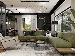 Salon z kuchnią w loftowych klimatach