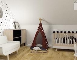 Pokój niemowlęcy - Średni biały szary pokój dziecka dla chłopca dla dziewczynki dla niemowlaka - zdjęcie od DOBRY UKŁAD-Sandra Białkowska