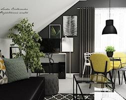 Salon z akcentem - Mały szary czarny salon z jadalnią - zdjęcie od DOBRY UKŁAD-Sandra Białkowska