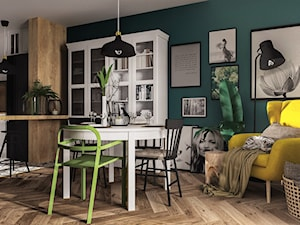 Eklektycznie z Ikeą :) - Mała otwarta zielona jadalnia w salonie - zdjęcie od DOBRY UKŁAD-Sandra Białkowska