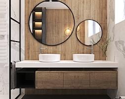 Nowoczesna łazienka i kuchnia w domu w Krakowie - Mała łazienka w bloku w domu jednorodzinnym z oknem, styl nowoczesny - zdjęcie od Ambience. Interior design
