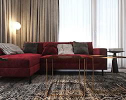 Odważne mieszkanie z czerwienią - Mały szary salon, styl nowoczesny - zdjęcie od Ambience. Interior design