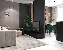 Mieszkanie w kolorze kaszmiru - Średni czarny brązowy salon z kuchnią z jadalnią, styl nowoczesny - zdjęcie od Ambience. Interior design