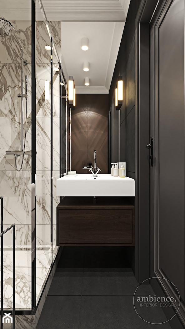 Warszawski apartament - Mała biała czarna łazienka w bloku w domu jednorodzinnym bez okna, styl nowoczesny - zdjęcie od Ambience. Interior design - Homebook