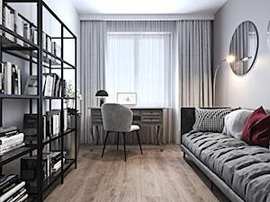 Mieszkanie z bordowym akcentem - Średnie szare białe biuro domowe w pokoju, styl nowoczesny - zdjęcie od Ambience. Interior design