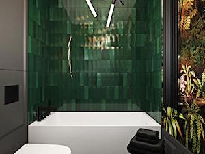 Warszawski apartament - Mała czarna zielona łazienka w bloku w domu jednorodzinnym bez okna, styl nowoczesny - zdjęcie od Ambience. Interior design