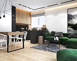 Mieszkanie z zielonym akcentem - Średni biały salon z kuchnią z jadalnią, styl nowoczesny - zdjęcie od Ambience. Interior design
