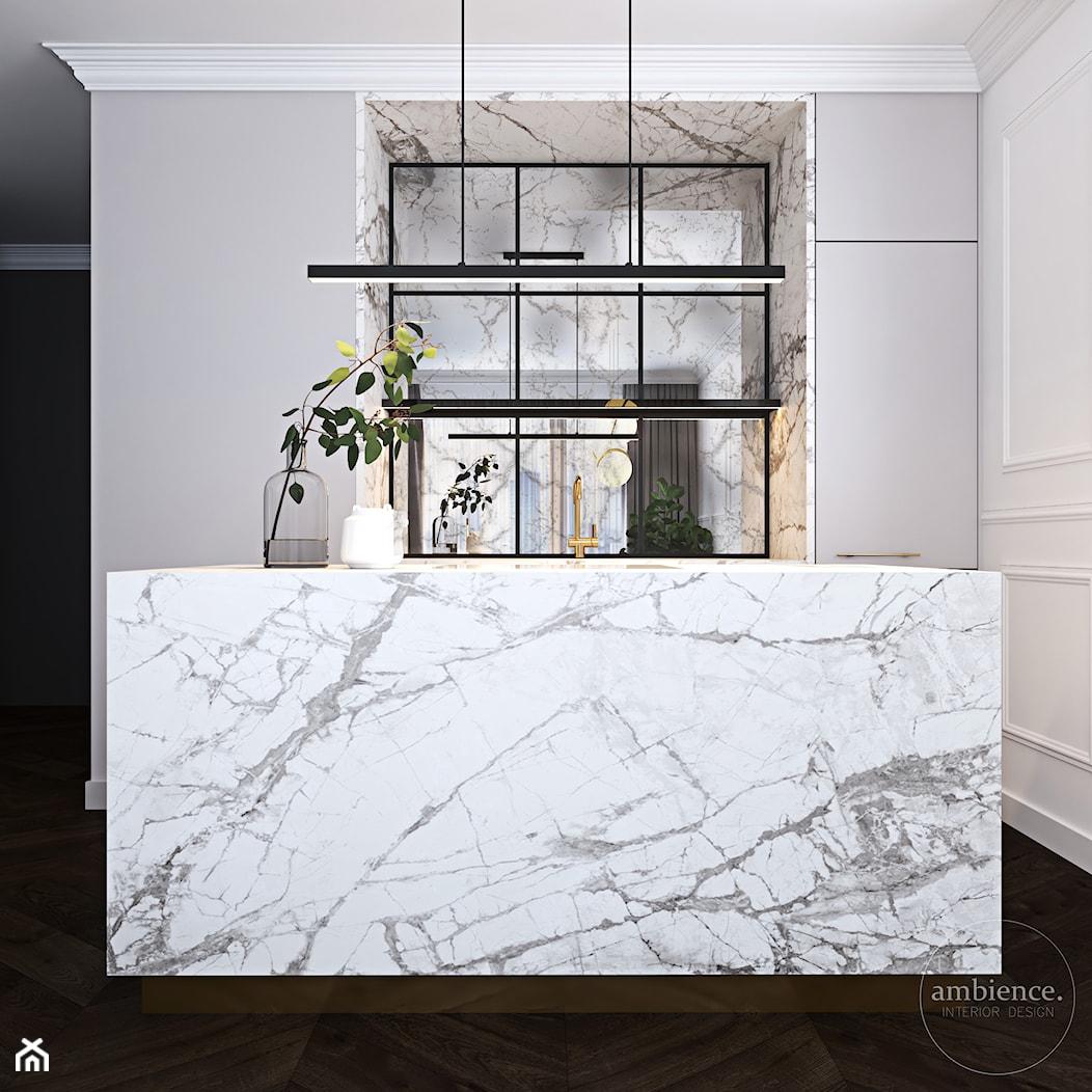 Warszawski apartament - Mała otwarta biała kuchnia jednorzędowa z wyspą, styl nowoczesny - zdjęcie od Ambience. Interior design - Homebook