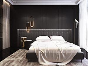 Luksusowa sypialnia z łazienką - Średnia czarna sypialnia małżeńska z łazienką z balkonem / tarasem - zdjęcie od Ambience. Interior design