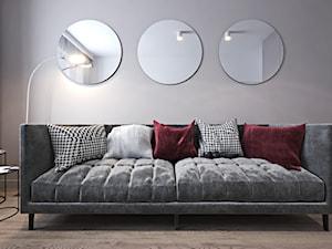 Mieszkanie z bordowym akcentem - Małe beżowe białe biuro kącik do pracy w pokoju, styl nowoczesny - zdjęcie od Ambience. Interior design