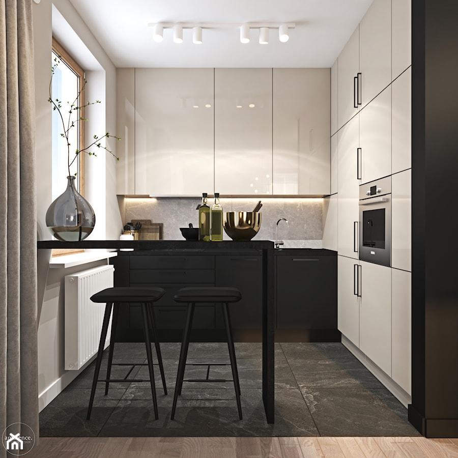 Odważne mieszkanie z czerwienią - Średnia zamknięta szara kuchnia w kształcie litery l z oknem, styl nowoczesny - zdjęcie od Ambience. Interior design