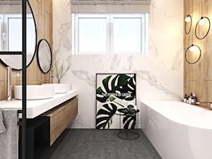 Nowoczesna łazienka i kuchnia w domu w Krakowie - Średnia biała beżowa łazienka z oknem, styl nowoczesny - zdjęcie od Ambience. Interior design