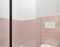 Piggy pink! - Mała szara łazienka w bloku w domu jednorodzinnym bez okna, styl vintage - zdjęcie od NSKY architekci