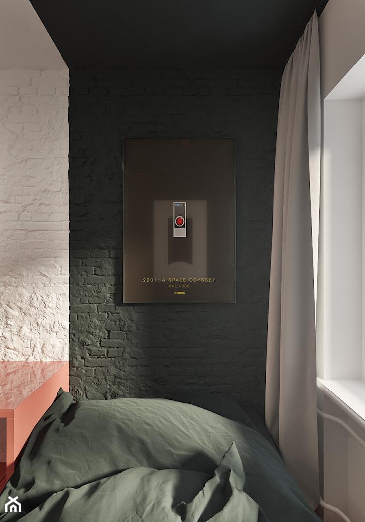 Sen w ramie - Mała biała czarna sypialnia, styl industrialny - zdjęcie od NSKY architekci - Homebook