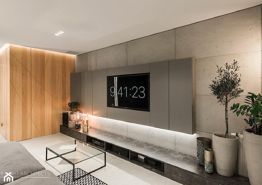 G77 Realizacja - Średni szary salon, styl minimalistyczny - zdjęcie od Hi-Light Architects