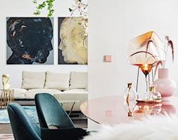 Aranżacje - Mały biały salon z jadalnią, styl eklektyczny - zdjęcie od JUNG Polska - Homebook
