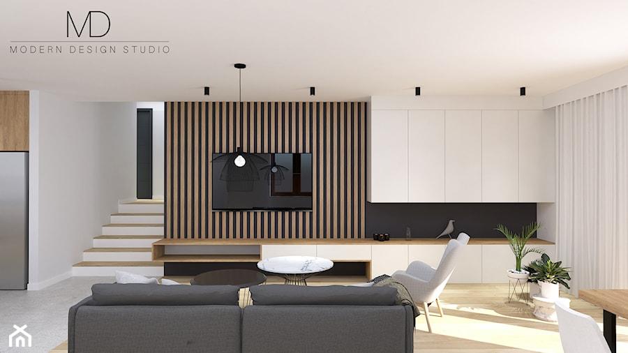 Projekt poddasza w miejscowości Hecznarowice, Śląsk - Duży szary biały beżowy czarny salon z kuchnią, styl nowoczesny - zdjęcie od MD-STUDIO- Wojciech Studnicki