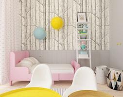 Pokój Zuzi - Mały szary pokój dziecka dla dziewczynki dla ucznia dla malucha dla nastolatka, styl skandynawski - zdjęcie od Wymiar i Kropka