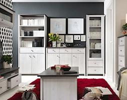 Mały szary biały czarny salon z bibiloteczką, styl prowansalski - zdjęcie od POLAmeble