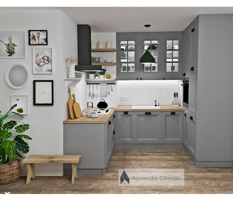 Jedna kuchnia dwa rożne style - Mała biała szara kuchnia w kształcie litery u w aneksie, styl skandynawski - zdjęcie od S T R E F A Agnieszka Chlebda