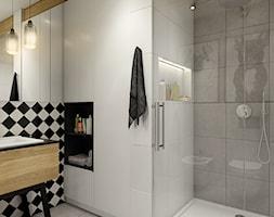 """""""wszystko i nic"""" czyli styl mieszany. - Średnia biała szara łazienka w bloku bez okna, styl eklekty ... - zdjęcie od WERDHOME - Homebook"""