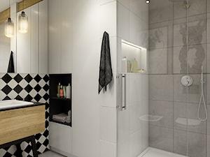 """""""wszystko i nic"""" czyli styl mieszany. - Średnia biała szara łazienka w bloku bez okna, styl eklektyczny - zdjęcie od WERDHOME"""