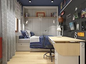 Dwa światy - Mały szary niebieski czarny pokój dziecka dla chłopca dla ucznia dla nastolatka, styl nowoczesny - zdjęcie od WERDHOME