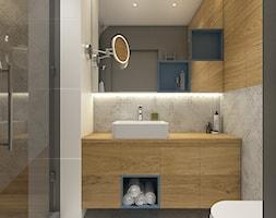 Dwa światy - Mała szara łazienka w bloku w domu jednorodzinnym bez okna, styl nowoczesny - zdjęcie od WERDHOME - Homebook