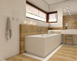 Dom w Opolu - Duża biała łazienka, styl nowoczesny - zdjęcie od WERDHOME