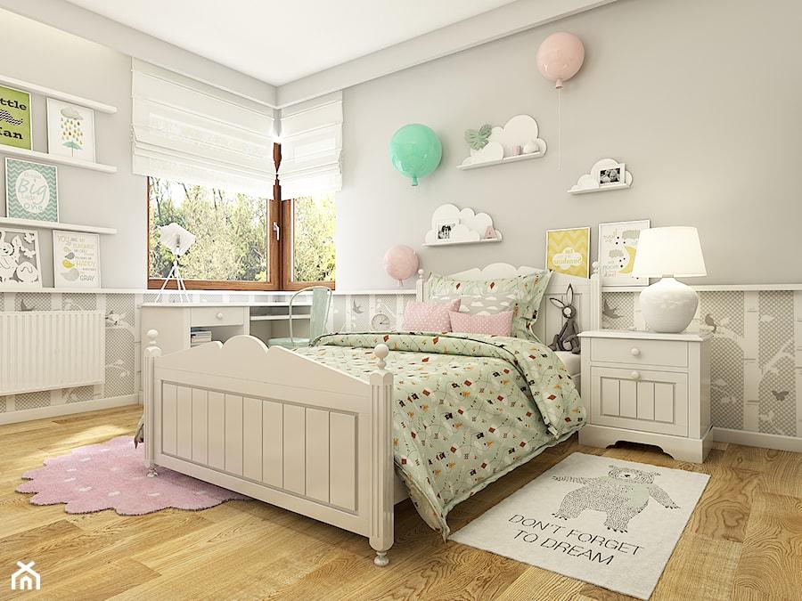 Aranżacje wnętrz - Pokój dziecka: Dom w Opolu - Średni szary pokój dziecka dla dziewczynki dla malucha, styl skandynawski - WERDHOME. Przeglądaj, dodawaj i zapisuj najlepsze zdjęcia, pomysły i inspiracje designerskie. W bazie mamy już prawie milion fotografii!