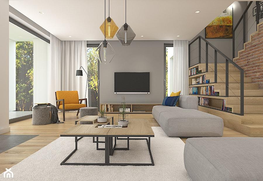 Dom pod Krakowem - przestrzeń zupełna - Duży szary salon z bibiloteczką z tarasem / balkonem, styl nowoczesny - zdjęcie od WERDHOME