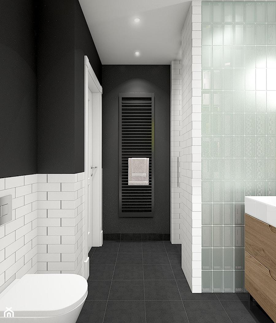 Z indygo - Mała biała czarna szara łazienka w bloku w domu jednorodzinnym bez okna - zdjęcie od WERDHOME
